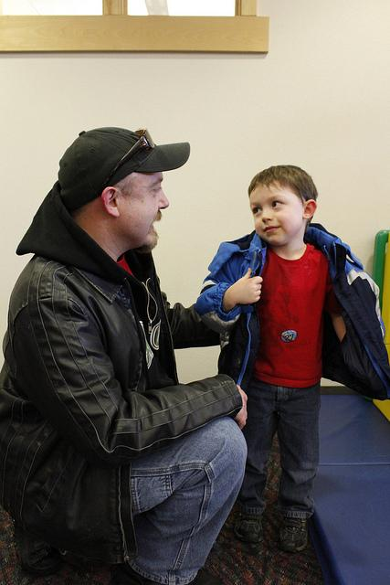 Shane Mabrey, a student and single father, drops off his 5-year-old son Jonas at EWU Children's Center.