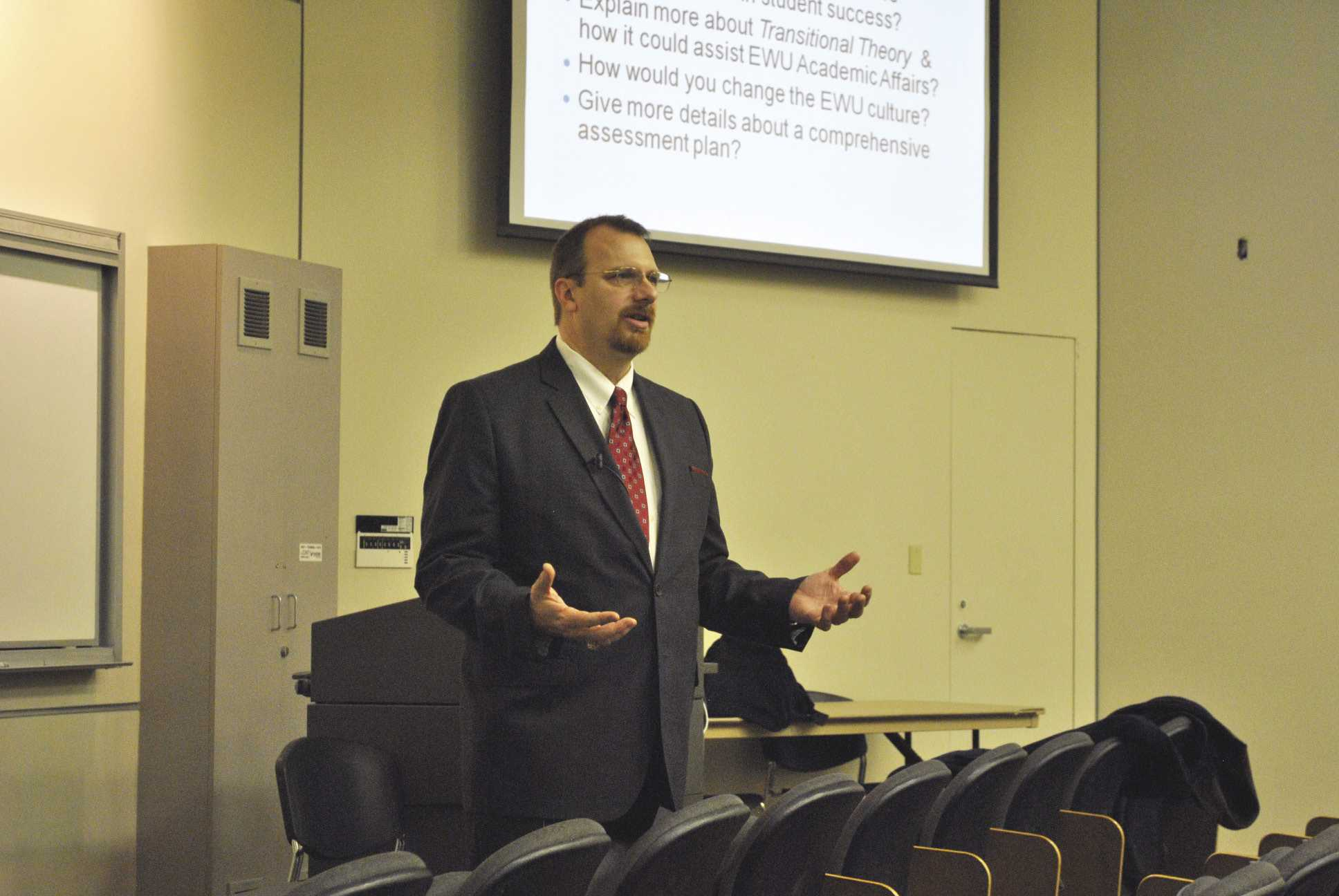 Dr. Charles Lopez, a vice provost candidate from Nagadoches, Texas, spoke at an open forum last week. Photo by Nic Olson