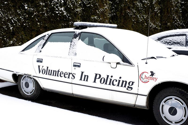 Photo by: Jade Raymond  Cheney Police Department (Volunteers in Policing vehicle)