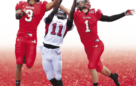 Greg Herd (left), Nicholas Edwards (center) and Brandon Kaufman combined to catch 601 passes for 8,713 yards and 83 touchdowns in their EWU careers.