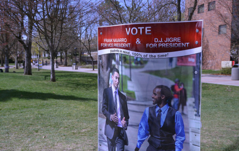 Photo by: Nic Olson  Campaign posters litter the campus persuading students to vote one way or another.