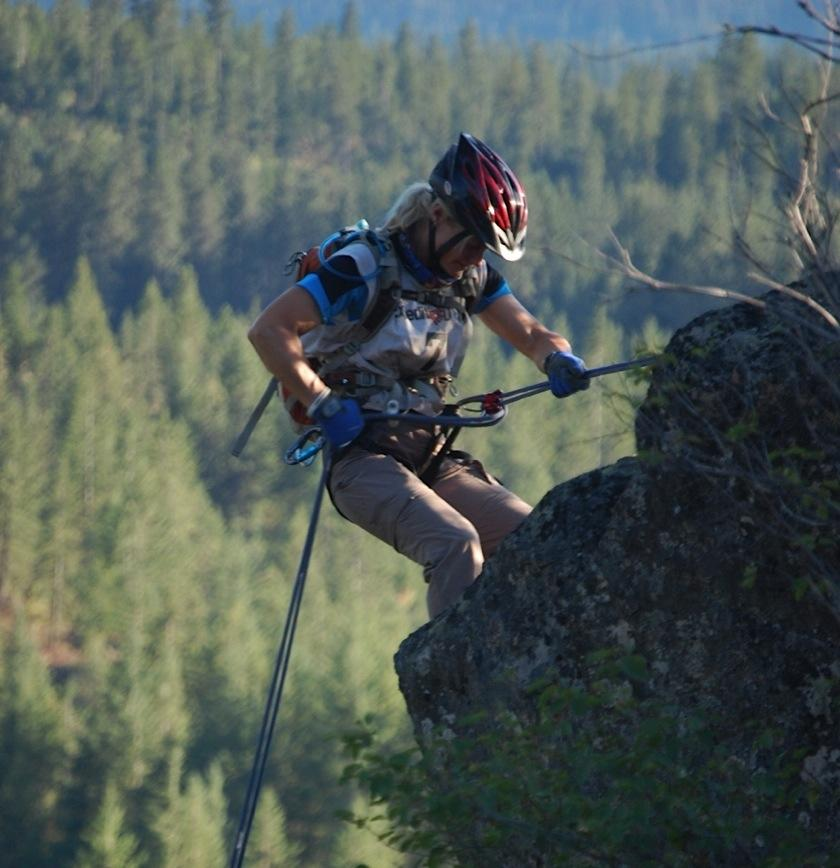 Jeni McNeal repels down a cliff during Expedition Idaho in 2011. Expedition Idaho was a seven-day expedition style adventure race. Photo by: Megan Roberts