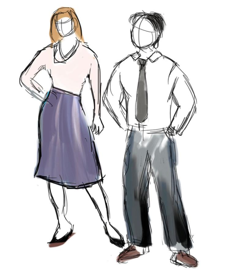 When it comes to dressing up or an interview, women should wear a skirt, slacks or a dress, along with a top that is not too revealing, while men should wear slacks, a button shirt and a tie. Credit: Easterner Graphics