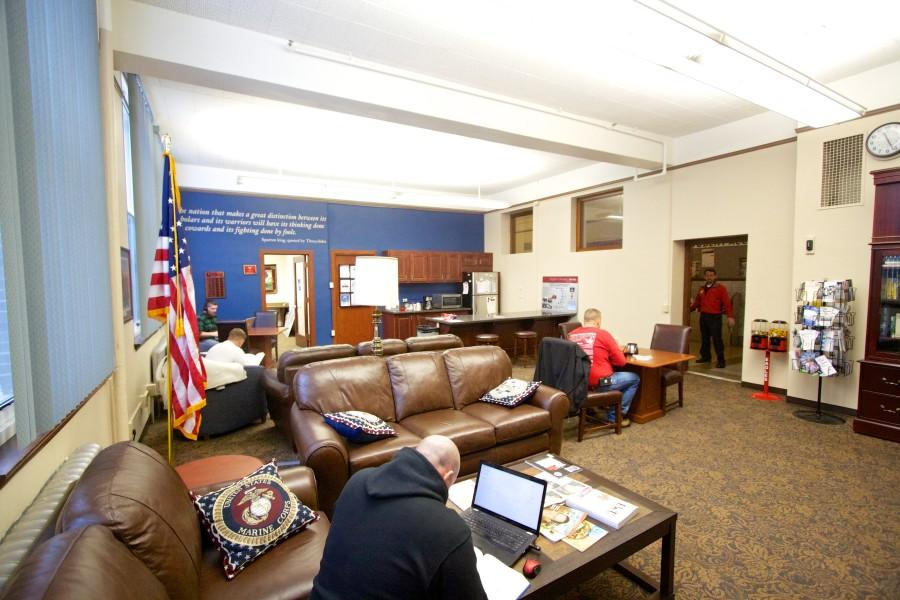 Photo by Sam Sargeant The veterans lounge, located on the ground floor of Showalter Hall, is an open space where veterans study and socialize.