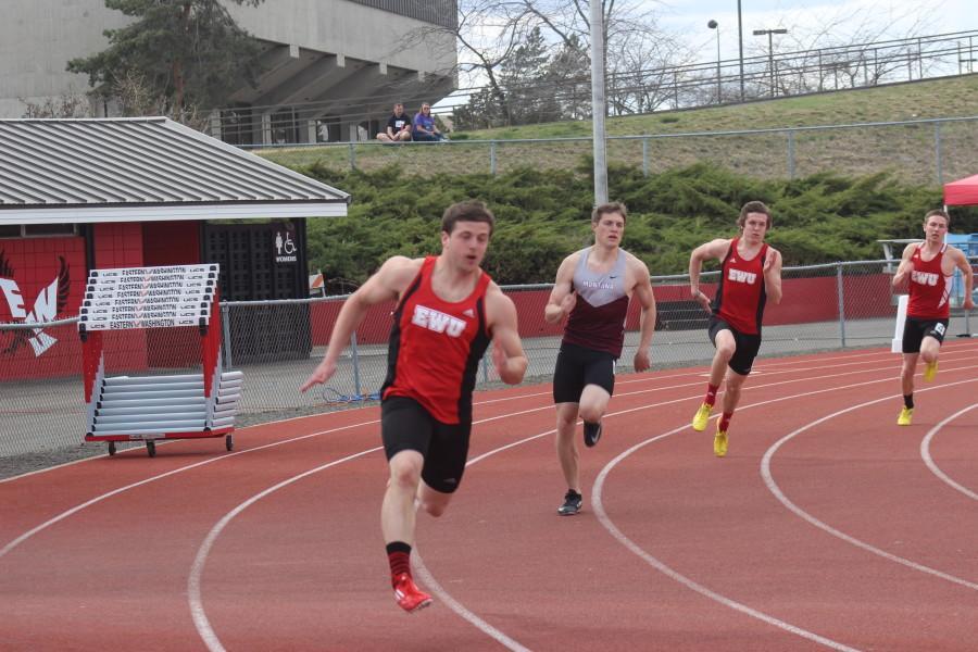 Nick Anthony, Austin Upmeyer and Brad Michael run the 400-meter sprint against Montana State.