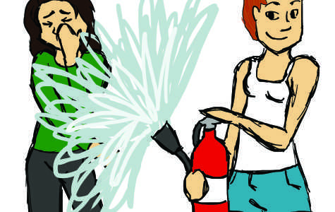 A student was arrested for discharging a fire extinguisher under a doorway during a prank war.
