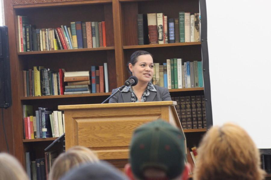 Gloria Ochoa spoke on her personal experiences with racism on May 20. Photo by Karissa Berg