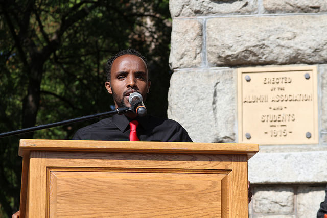 D. J. Jigre speaks at the Passing Through The Pillars event on Sept. 22 in front of new students at Showalter Hall.