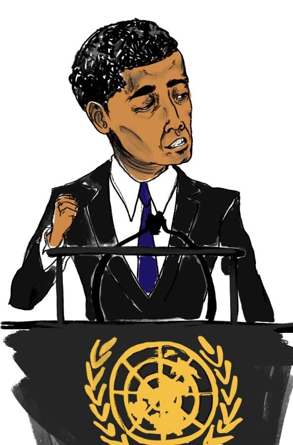 Obama giving his speech to the U.N