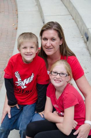 EWU student Teresa Messenger and her two children.