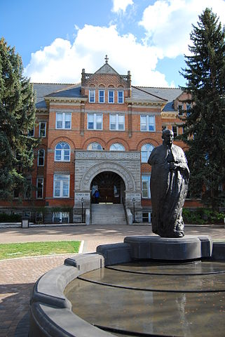 The front of the main student hall at Gonzaga University in Spokane.