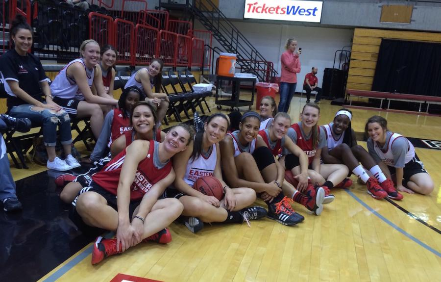 Womens basketball team at Eagles Madness on Oct. 23