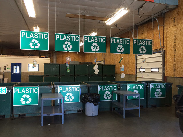 Repositories labeled for ease of organization at The Cheney Recycling Center on Anderson Road.