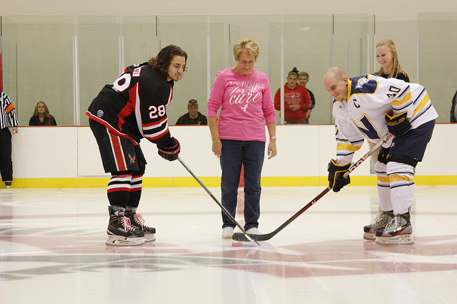 Puck drop ceremony at the EWU Pink in the Rink hockey game Oct. 10