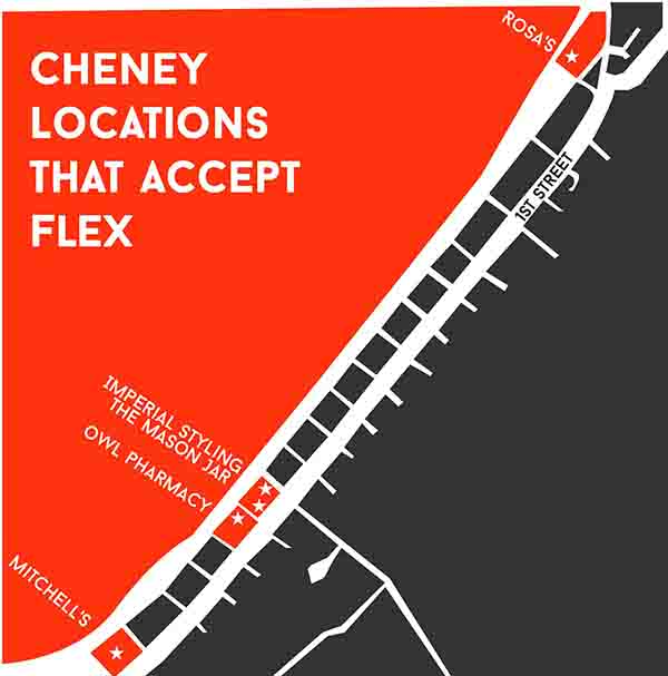 Cheney locations that accept Flex vary.