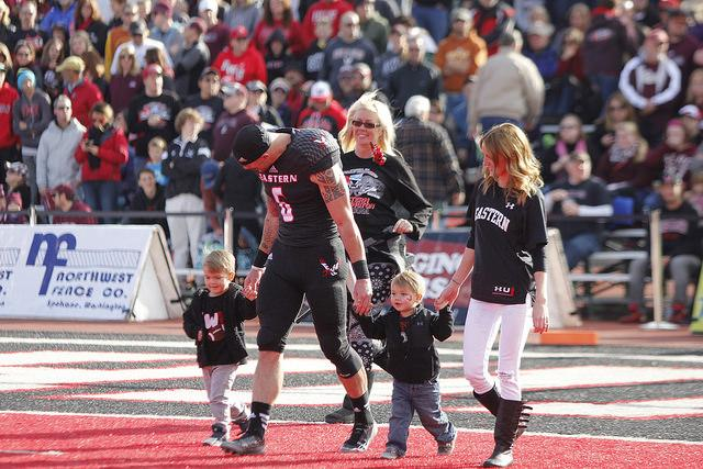WR Cory Mitchell with his family on Senior Day