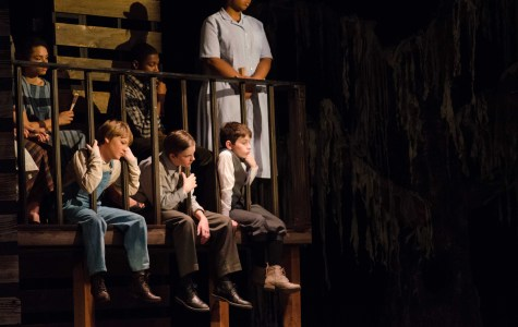 Left to right: Jean Louise Finch (Scout), played by Kady Cullen; Jemery Finch (Jem), played by Jameson Elton; Charles Baker Harris (Dill), played by Luke Hamburg.