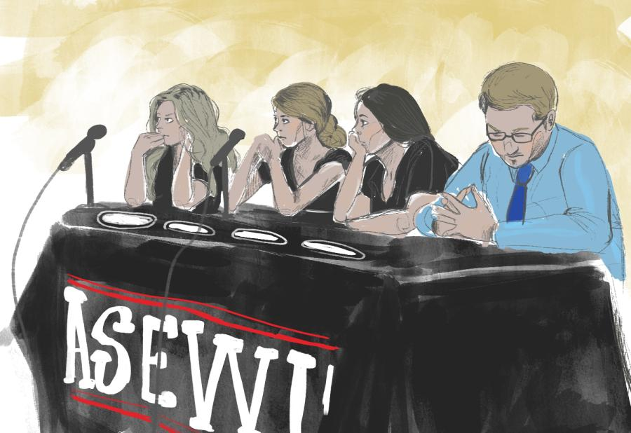Representatives of ASEWU listen to audience members at the council meeting on Oct. 31.