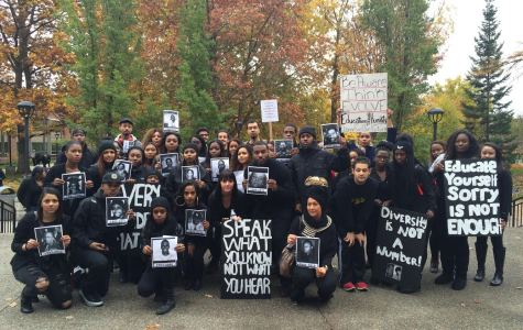 Members of EWU's Black Student Union, Africana Studies Department and other Eastern students advocated race and diversity education on campus through a protest held on Nov. 3.