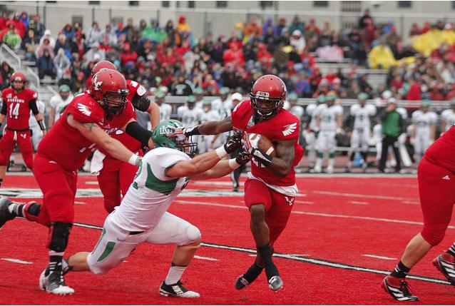 Running back Quincy Forte breaking a tackle versus University of North Dakota on Nov. 1