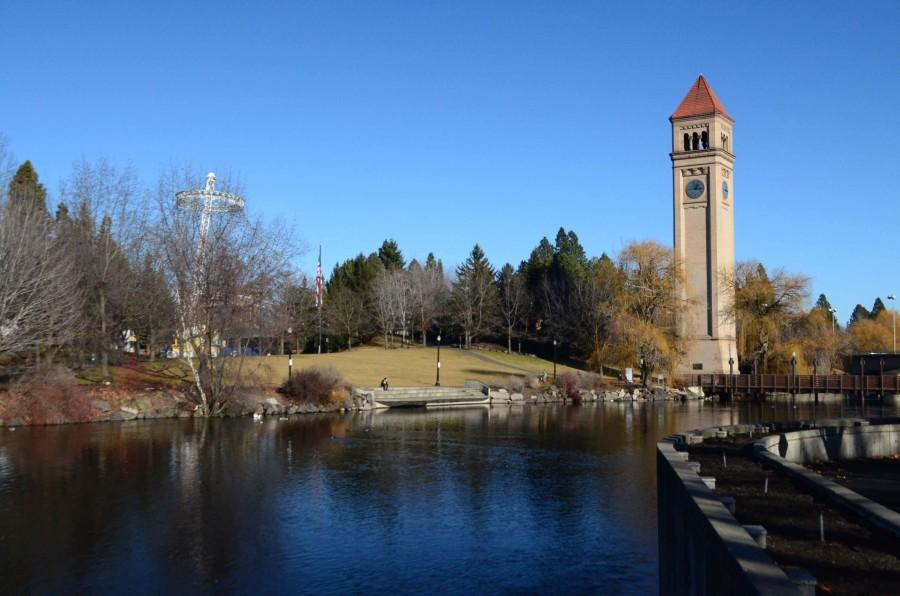 Current view of the Spokane River running through the Riverfront Park.