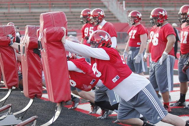 EWU players practice at Roos Field for the annual Red-White game occuring on April 25.