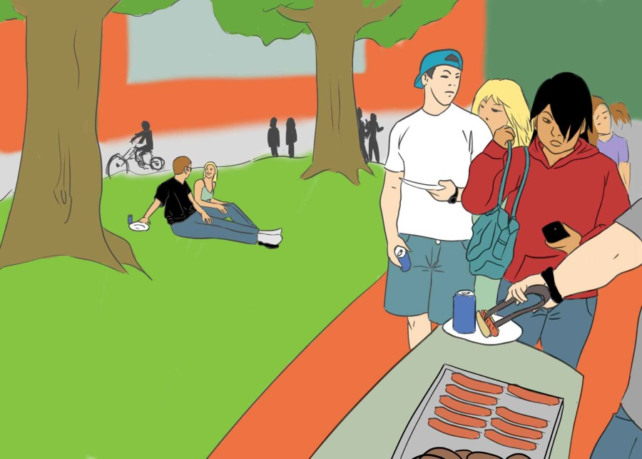 Students gather at barbecue event to meet candidates.
