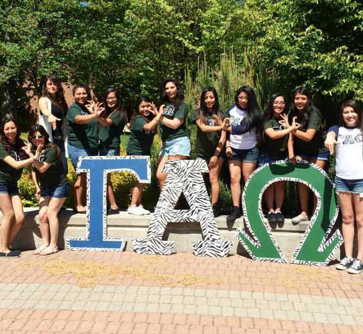 Sorority members pose for their yard show event on May 20.