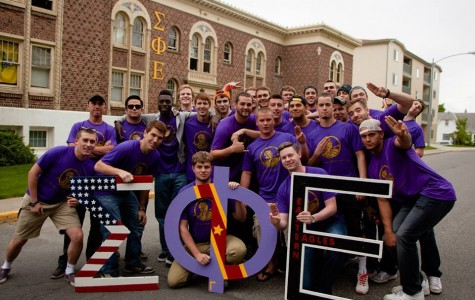 SigEp members pose in front of the fraternity house on College Ave. in May 2015.