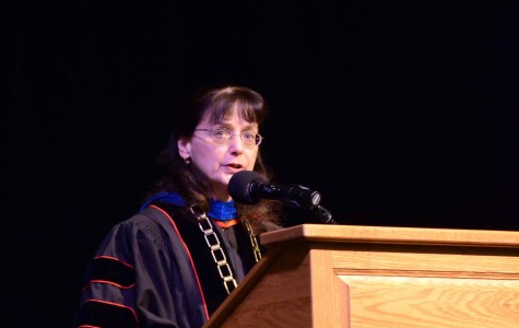 Dr. Mary Cullinan speaks at the investiture in Showalter Auditorium on May 1.