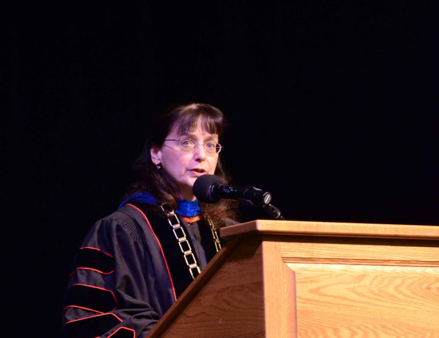 Dr.+Mary+Cullinan+speaks+at+the+investiture+in+Showalter+Auditorium+on+May+1.