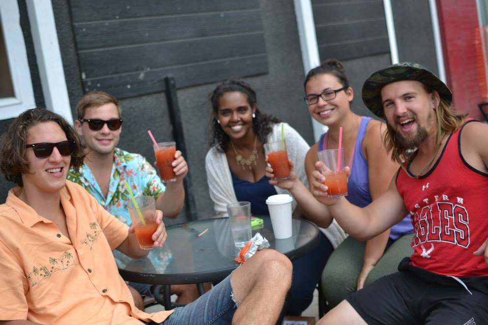 EWU students stop to enjoy a beverage during Mayfest on May 29.