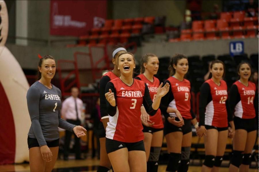 EWU volleyball members cheer on their team.