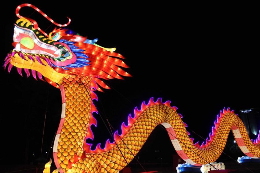 Giant Chinese lantern displays at Riverfront Park.