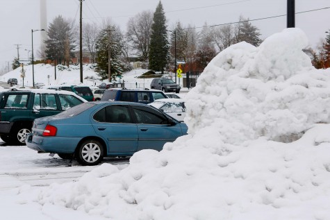 Snow pile on campus