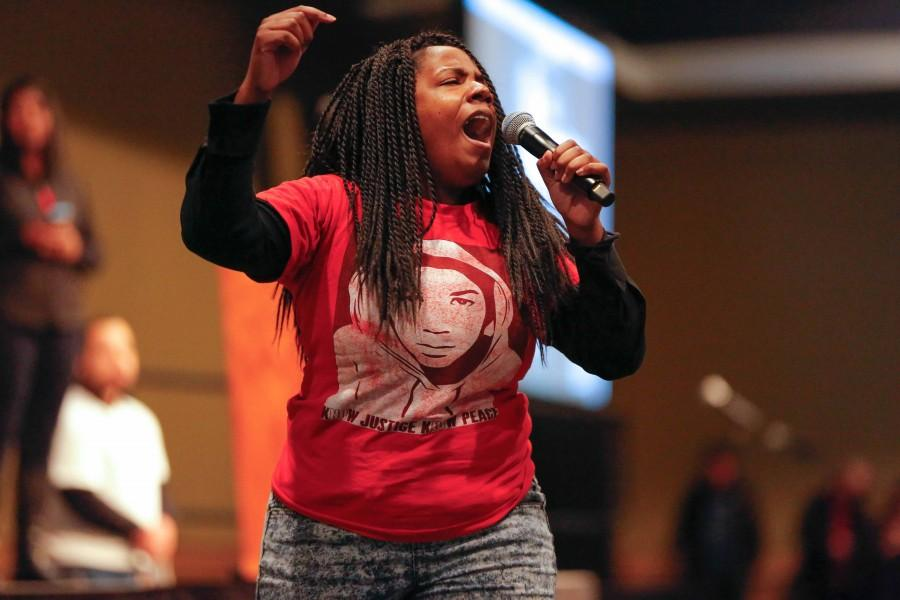 EWU student Lakeisha Jones performs from the perspective of Dr. King Jr.'s wife