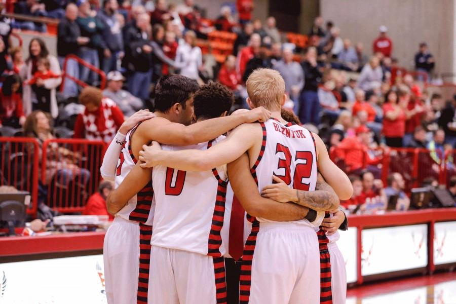 Eagles celebrate victory on the court.