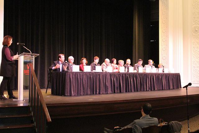 Local+and+regional+candidates+and+incumbents+answer+EWU+student+questions+at+open+discussion+in+Showalter+Auditorium.