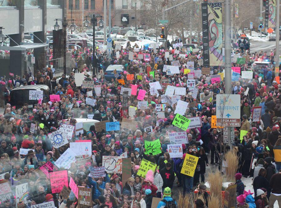 Police estimated that over 7500 people were in attendence for Spokane's Women's March, which is thousands more than expected.