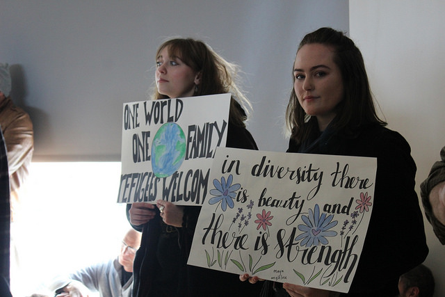 The Spokane community came together at Gonzaga for the Rally for Refugees, where they listened in on keynote speakers and stories from migrants.
