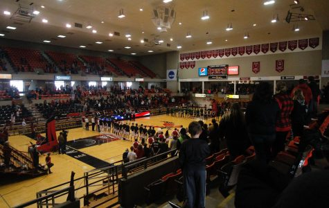 Singing of the national anthem before the game against Portland State, Feb. 4, 2017, at Reese Court.