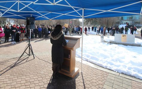 EWU President Mary Cullinan addresses hundreds of students at the Campus Mall for a rally to support immigrants 1/31/2017.