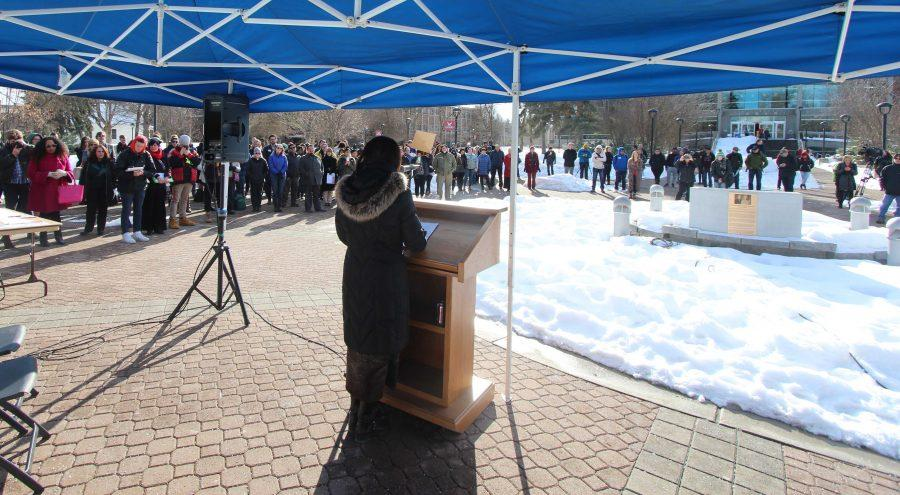 EWU+President+Mary+Cullinan+addresses+hundreds+of+students+at+the+Campus+Mall+for+a+rally+to+support+immigrants+1%2F31%2F2017.