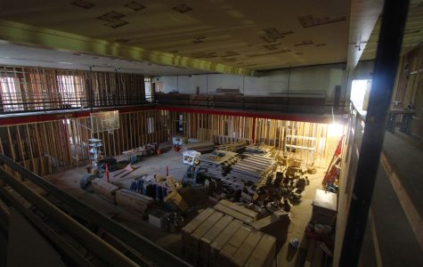 A view from the second floor balcony surrounding the old gymnasium. Old Cheney High School is currently in the process of being converted into student housing.