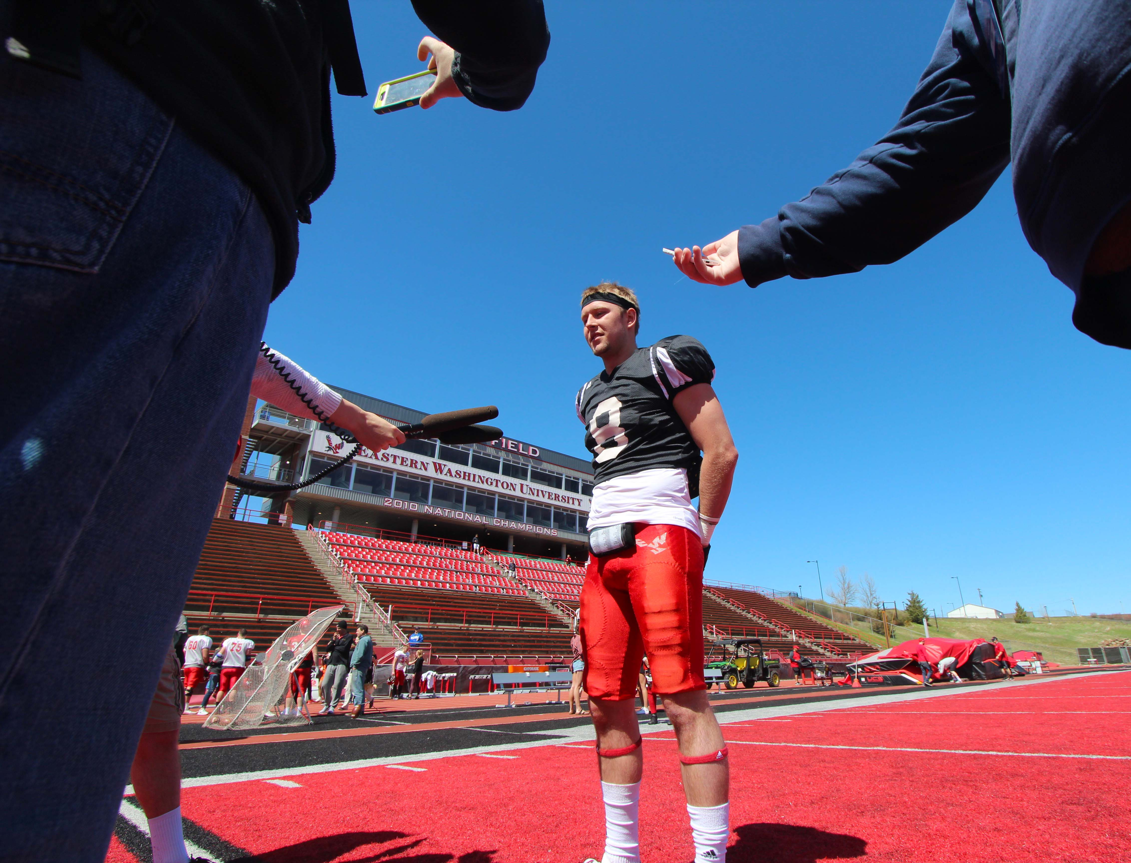 Then sophomore quarterback Gage Gubrud speaks with media after EWU football's spring game on April 22. Gubrud was arrested for obstructing a public servant in downtown Cheney in the early morning of Nov. 5.