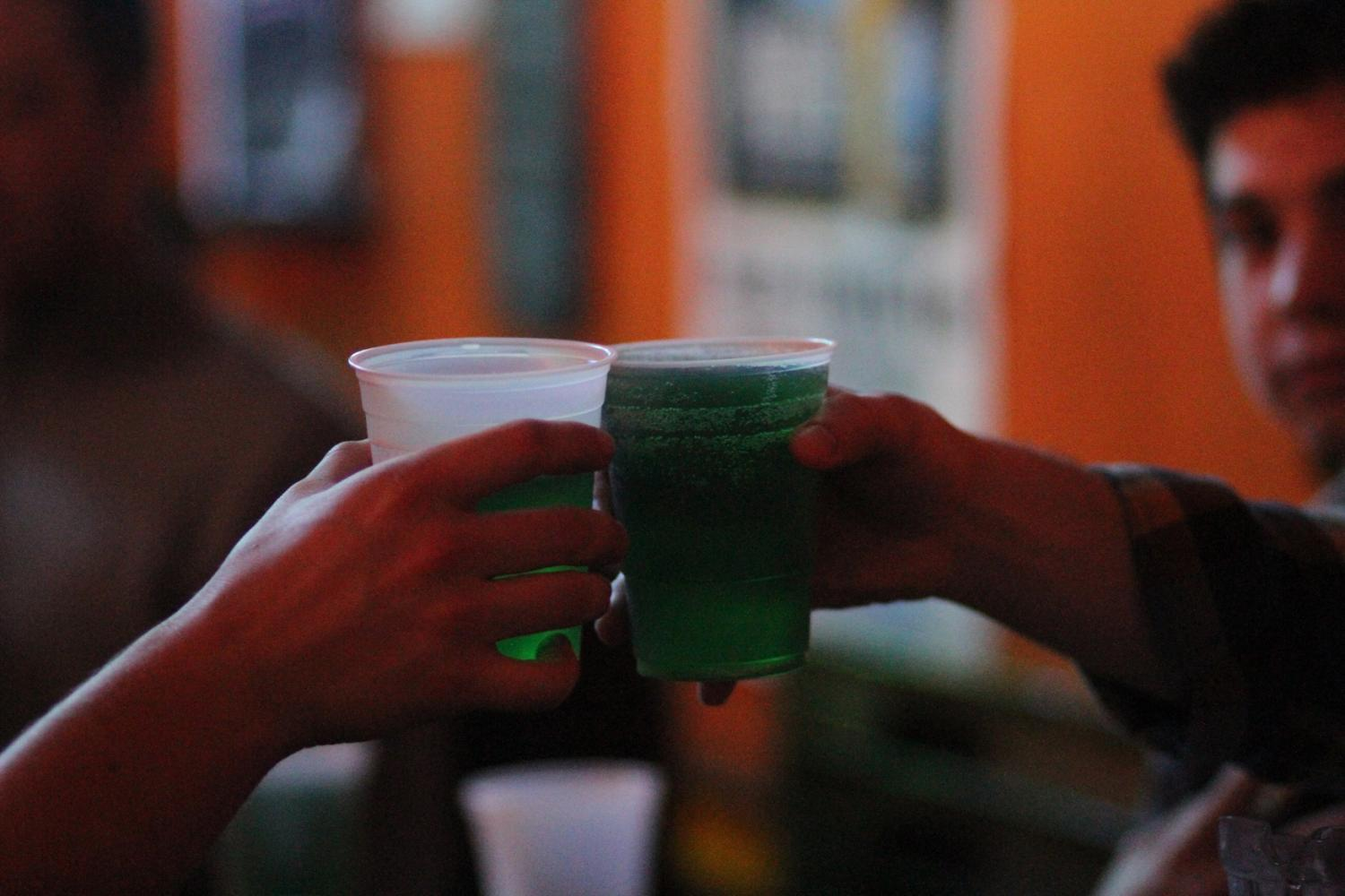 $1 pitchers of green beer, leftover from St. Patrick's Day was being served at Monterey's Pub & Grub