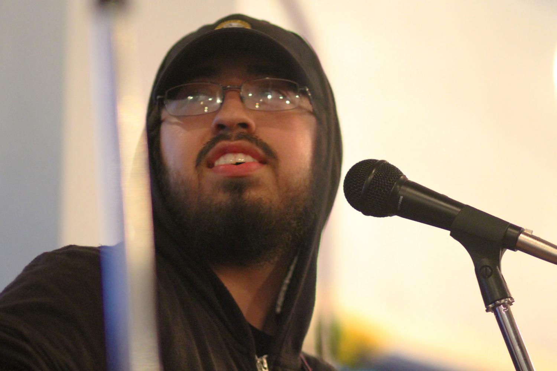 Reuben Soliz performing at The Mason Jar's open mic night