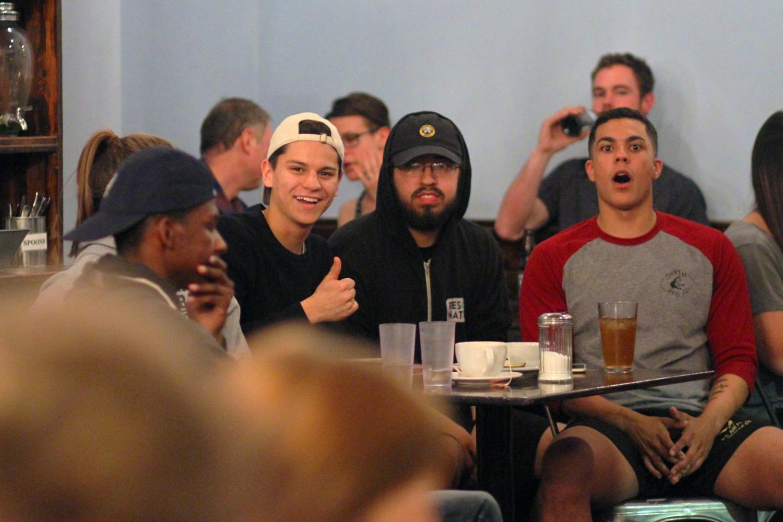 (Left to right) Sebastian Nava, Reuben Soliz and Avery Johnson at The Mason Jar's open mic night