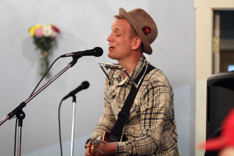 Michael Boucher performing at The Mason Jar's open mic night
