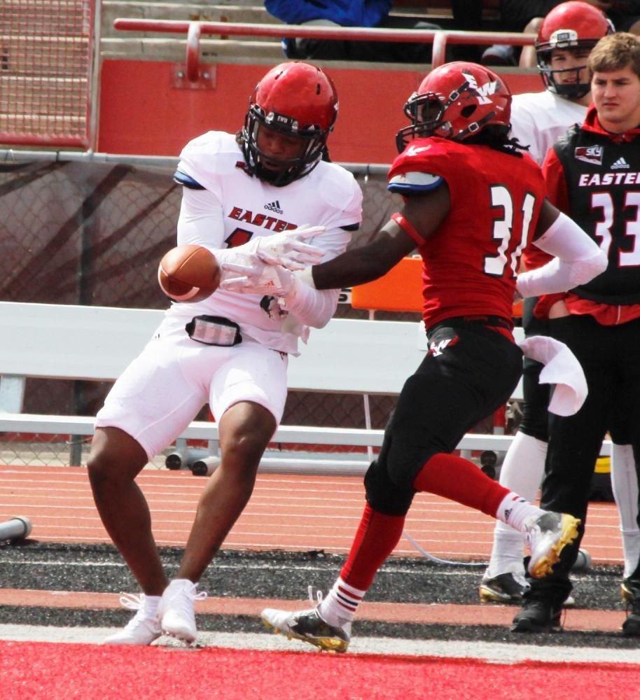 Defensive back Brandon Montgomery (31) beaks up a pass, at the Red-White spring game.